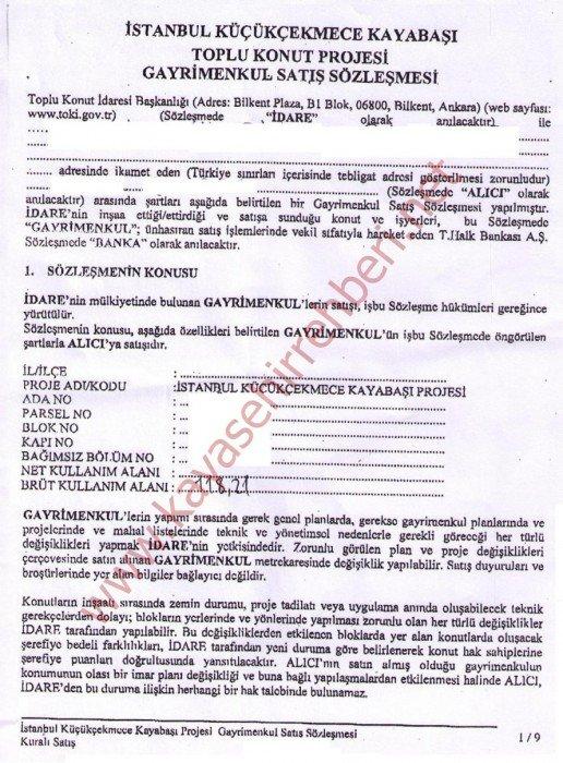 Toki Konutları Satış Sözleşme örneği | Kayaşehir İstanbul