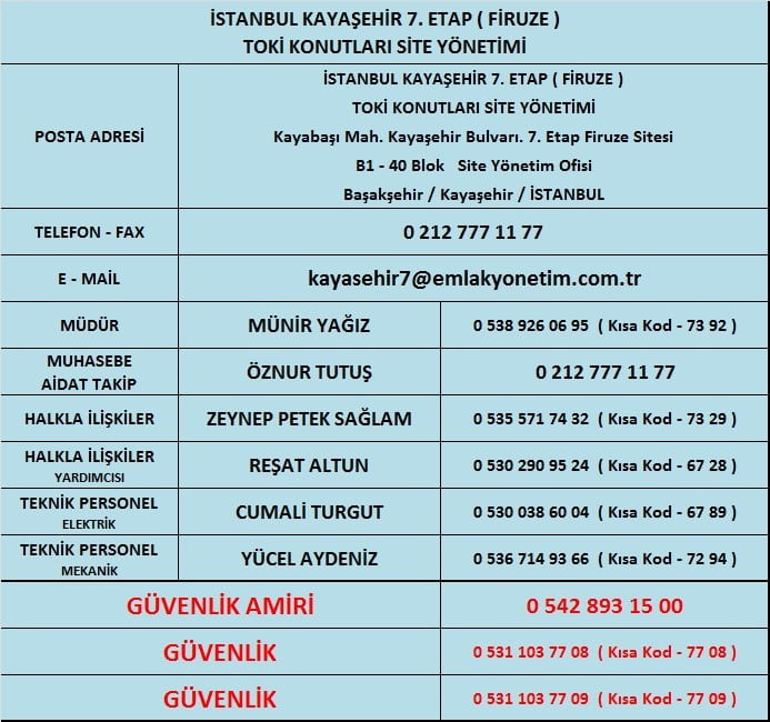 Kayaşehir Firuze Sitesi Telefonu