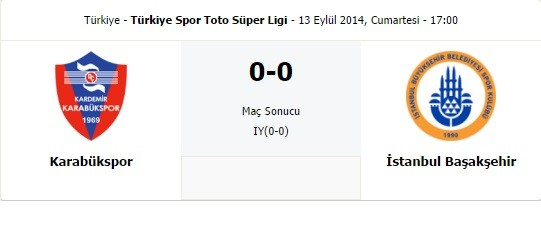 Karabükspor – Başakşehir : 0-0