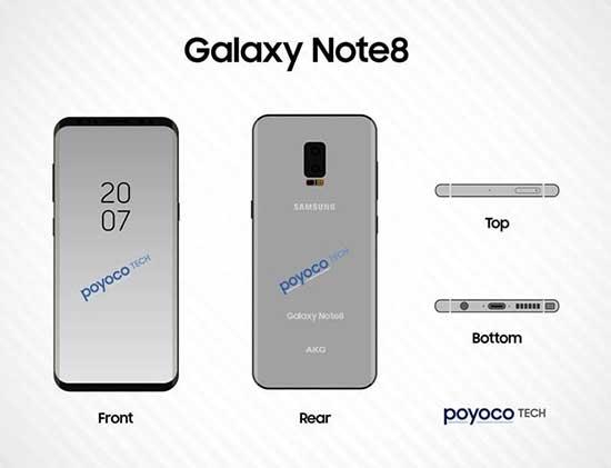 Galaxy Note 8'in çizimleri medyada