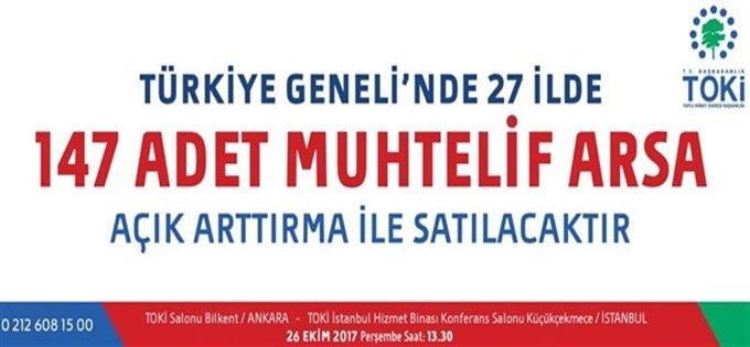 TOKİ'nin 147 Arsa Satışı için Açık Artırma Yarın