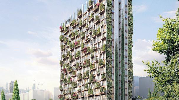 'Dikey ormana' yeşil bina sertifikası geldi