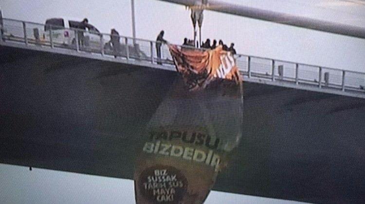 Boğaz Köprüsü'nde 'Kudüs İslam'ındır' dev pankartı